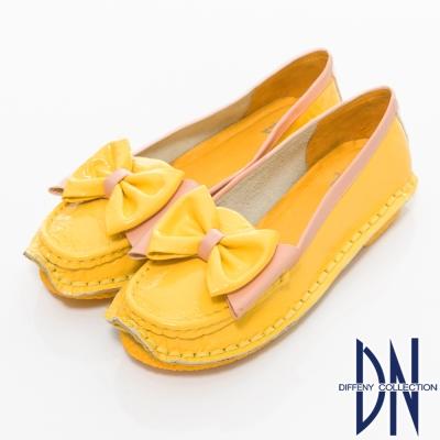 DN-舒適滿分-鏡面牛皮蝴蝶結手縫包鞋-黃