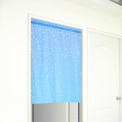 布安於室-銀色星空遮光門簾-藍色-寬130x高150cm