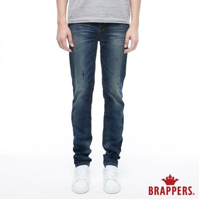 BRAPPERS 男款 HM-中腰系列-中腰彈性黑潑漆直筒褲-藍