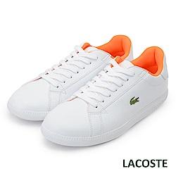 LACOSTE 女用真皮休閒鞋-白/橘