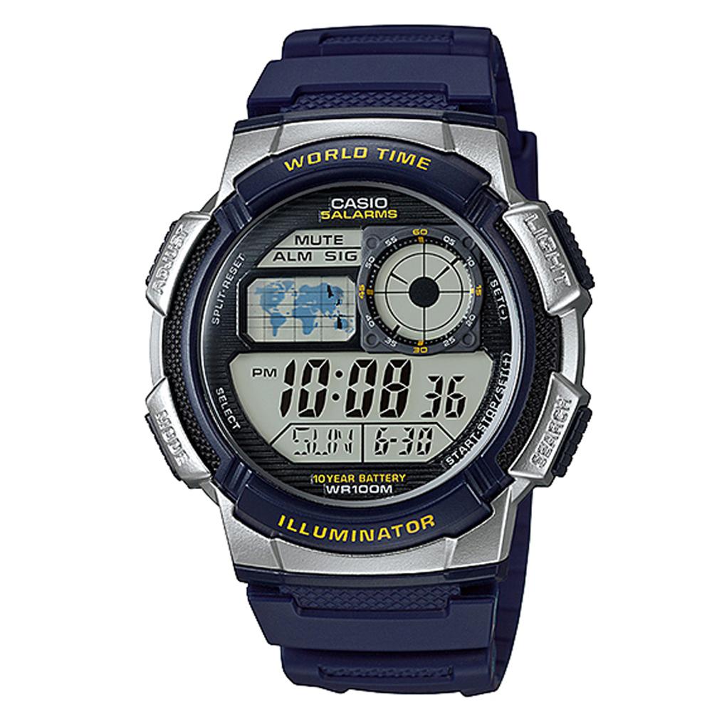 CASIO 世界之城電子數位膠帶錶(AE-1000W-2A)-藍/43.7mm
