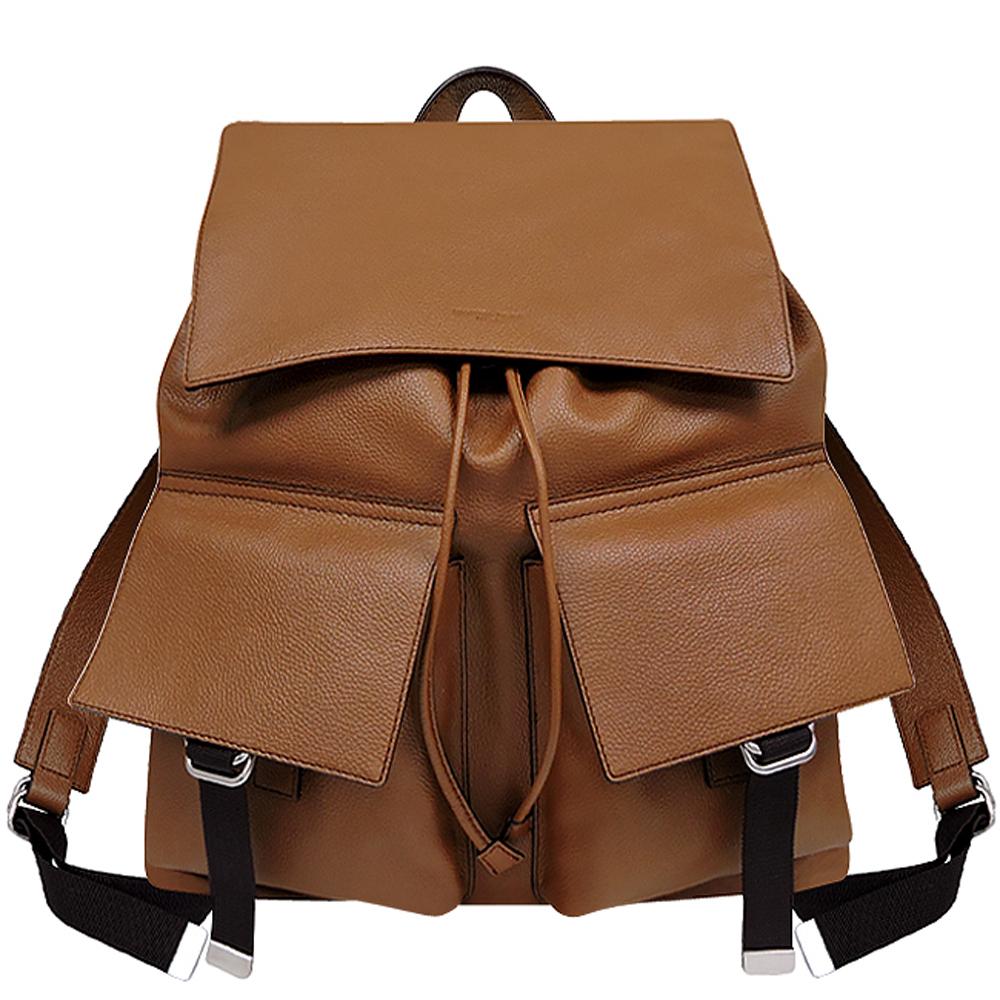 MICHAEL KORS 焦糖色荔枝皮紋掀蓋束口後背包-大型