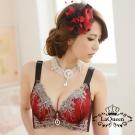內衣  浪漫立體刺繡蠶絲內襯成套內衣-紅 La Queen