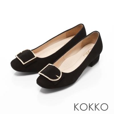 KOKKO-精品手感方頭麂皮飾釦粗跟鞋-經典黑