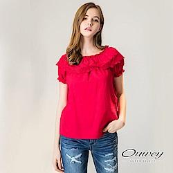 OUWEY歐薇 縷空刺繡輕薄純棉上衣(紅)