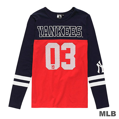 MLB-紐約洋基隊網眼數字印花長袖T恤-深藍 (女)