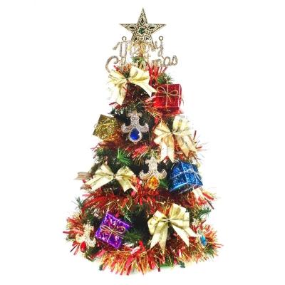 台製2尺(60cm)裝飾綠色聖誕樹(彩寶石禮物盒系)