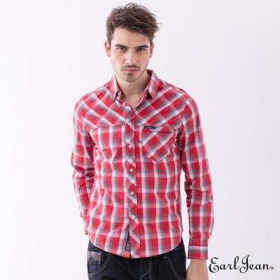 Earl Jean 拼接格紋長袖襯衫-紅色-男