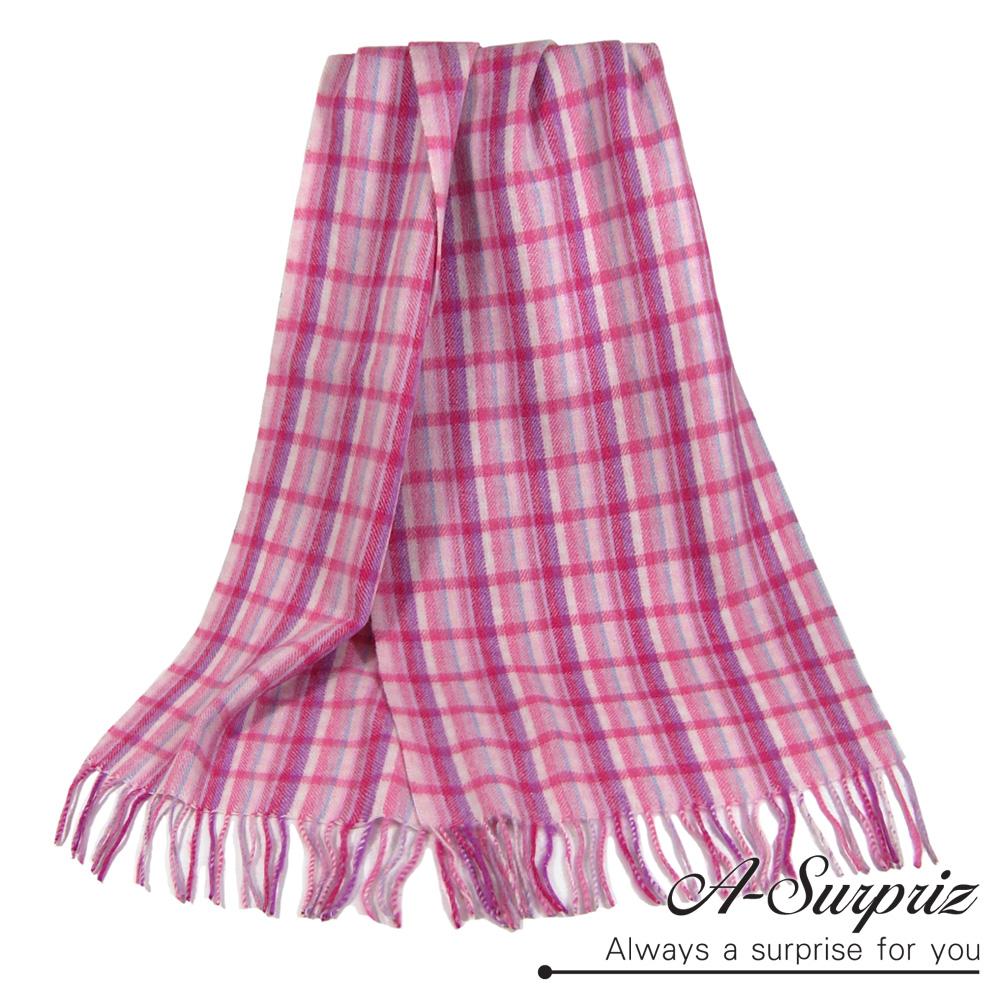 A-Surpriz 日系小格厚織純羊毛圍巾(粉紅格)
