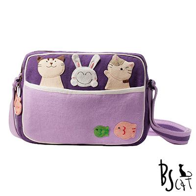 ABS貝斯貓 可愛貓咪拼布 肩背包 斜背包 (紫) 88-194
