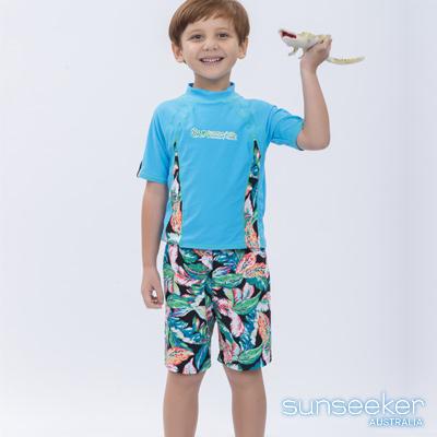 澳洲Sunseeker泳裝抗UV防曬短袖泳衣+泳褲-小男童兩件式泳衣組/叢林天藍