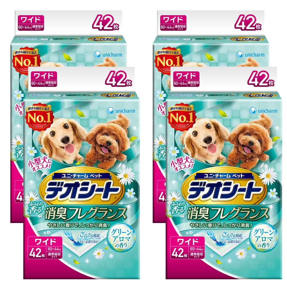 日本Unicharm消臭大師 小型犬狗尿墊 森林香 LL號 42片裝 x 4包