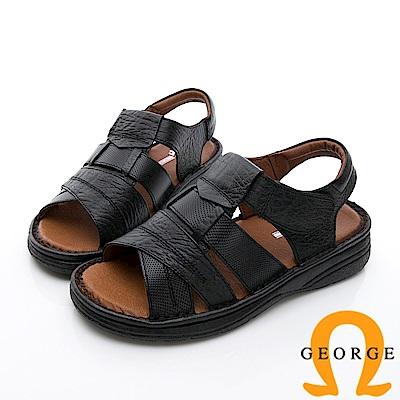 GEORGE 喬治-休憩系列 魔鬼氈雙色休閒涼鞋-黑