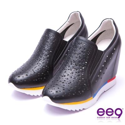 【ee9】青春熱力~全真牛皮鐳射鏤空內增高休閒鞋*黑色