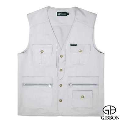GIBBON 經典樂活素色多口袋背心‧淺灰L~4L