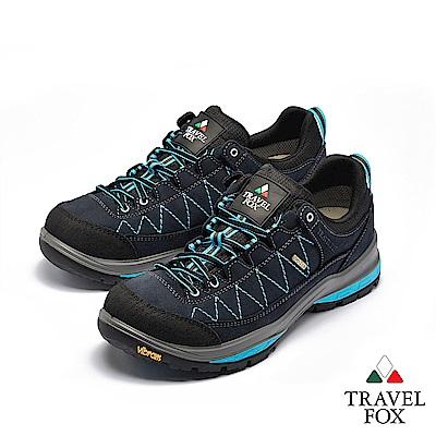 TRAVEL FOX(男) 看山是山 歐洲進口耐冷熱防滑戶外登山鞋- 黑藍色