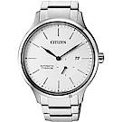 CITIZEN星辰 爵士鈦金屬機械錶-白x銀/42mm