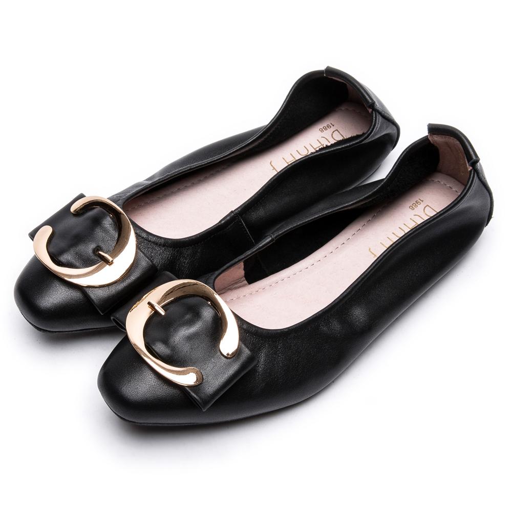 DIANA金屬C型釦方頭真皮平底鞋-樂活休閒-黑