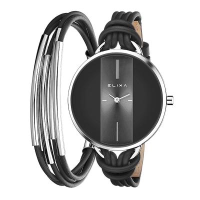 ELIXA Finesse精巧時間皮繩系列X手環組合 黑x銀38mm