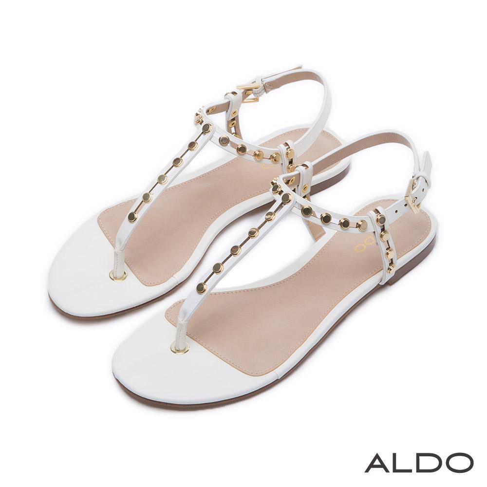 ALDO 原色鉚釘金屬釦T字繫帶涼鞋~氣質白色