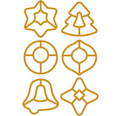 TESCOMA 雙色緞帶+掛環餅乾模6件(鏤空聖誕)