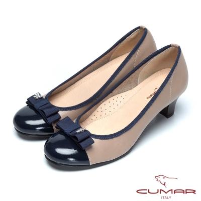 CUMAR粉領甜心-緞帶蝴蝶結真皮高跟鞋-藍