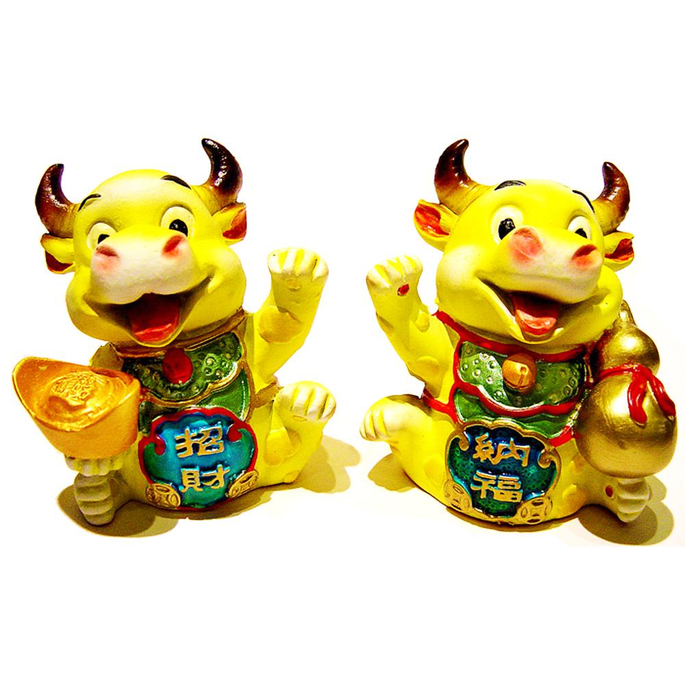 開運陶源 【招財牛】 扭轉乾坤~有黃藍紫色可選