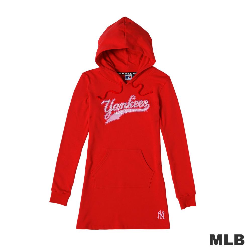 MLB-紐約洋基隊值絨印花連帽長版上衣-紅色(女)