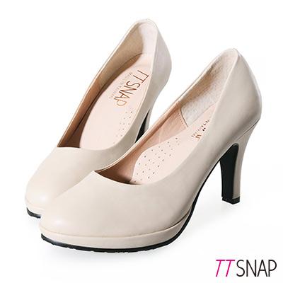 TTSNAP高跟鞋-MIT素面防水台小圓頭軟Q跟鞋
