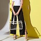 ICHE 衣哲 設計款側開叉輕時尚西裝闊腿直筒長褲-黑