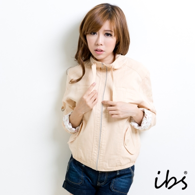 IBS 可捲袖短版外套-卡其-女