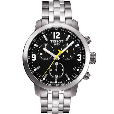 TISSOT PRC200 霸氣時尚三眼計時腕錶-黑/42mm