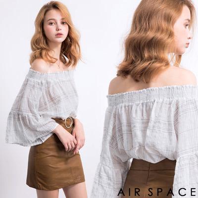 AIR-SPACE-清新格紋荷葉平口上衣-白