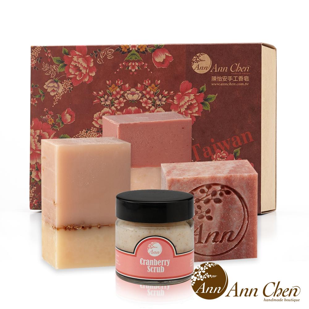 陳怡安手工皂-玫瑰沐浴潔顏皂蔓越莓去角質禮盒
