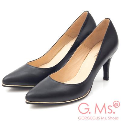 G.Ms. MIT系列-牛皮尖頭金邊裝飾靜音高跟鞋-黑色