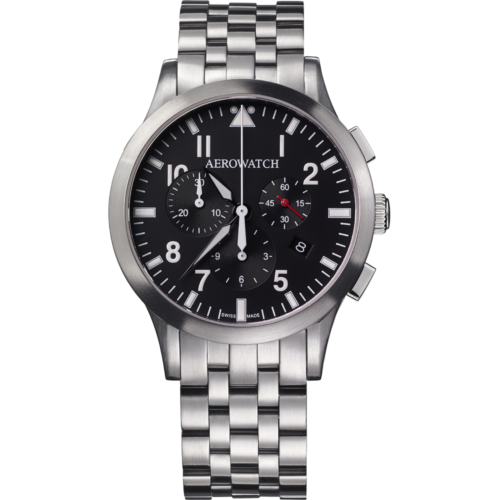 AEROWATCH 都會仕紳三眼計時腕錶-黑x銀/42mm