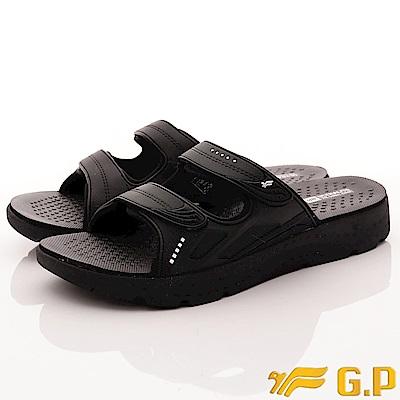 GP時尚涼拖-輕量防滑厚底拖鞋 EI591M-10黑(男段)