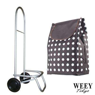 WEEY 輕巧加大靜音輪可拆輪設計載運車 買菜車 購物車(咖白點)29-023D10