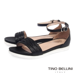 Tino Bellini 圖騰鏤空閃爍心機增高平底涼鞋_黑