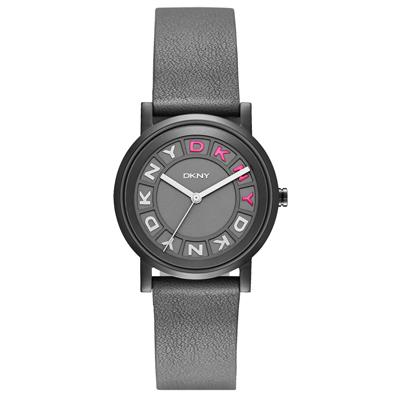 DKNY 摩登熠光時尚腕錶-灰x桃x皮帶/34mm