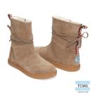 TOMS 皮繩麂皮雪靴-孩童款(深褐)