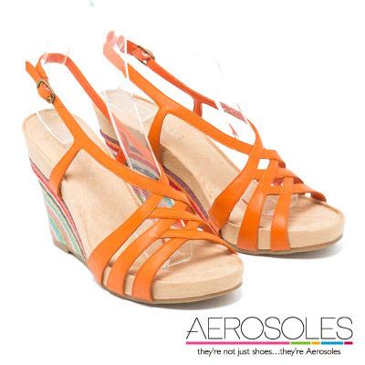 AEROSOLES 異國虹彩交叉繫帶彩色編織楔型鞋~活力橘