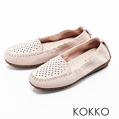 KOKKO -舒適彈力鏤空雕花牛皮休閒平底鞋- 牛奶膚