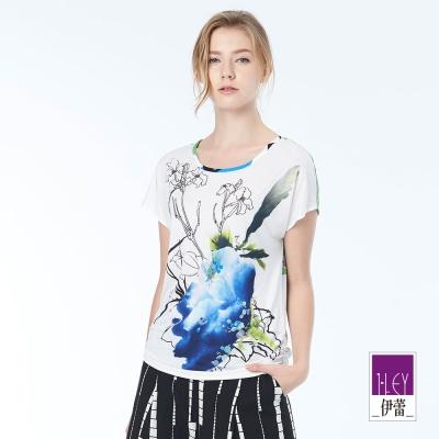 ILEY伊蕾 優雅花卉印花縫飾上衣(白)