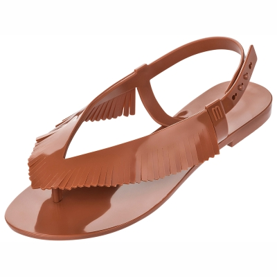 MELISSA 簡約流蘇涼鞋-咖啡