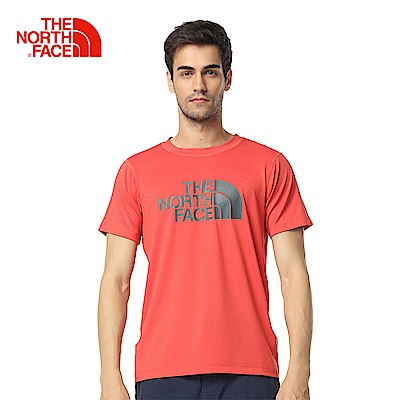 The North Face北面男款紅色吸濕排汗休閒短袖T恤