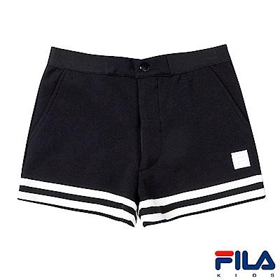 FILA KIDS #東京企劃 女童針織短褲-黑5SHS-4457-BK