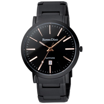 Roven Dino羅梵迪諾 色彩抉擇時尚日期腕錶-黑x玫瑰金/40mm
