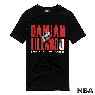 NBA-Damian Lillard拓荒者隊網眼號碼印花短T-黑 (男)