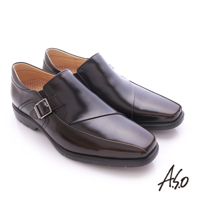 A.S.O  奈米健康氣墊  鏡面摔花牛皮紳士休閒皮鞋 茶色